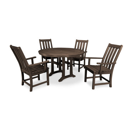 Vineyard 5-Piece Nautical Trestle Dining Set in Mahogany