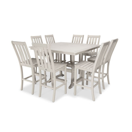 Vineyard 9-Piece Nautical Trestle Bar Set in Sand