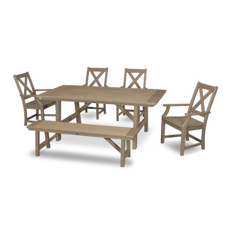 Braxton 6-Piece Rustic Farmhouse Arm Chair Dining Set with Bench in Vintage Sahara