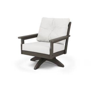 Vineyard Deep Seating Swivel Chair in Vintage Finish