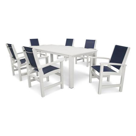 Coastal 7-Piece Harvest Dining Set in Satin White / White / Navy Blue Sling
