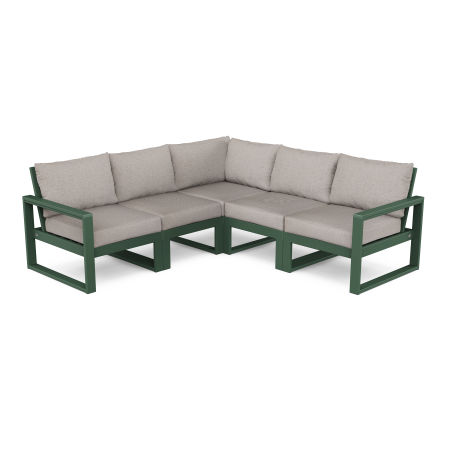 EDGE 5-Piece Modular Deep Seating Set in Green / Weathered Tweed