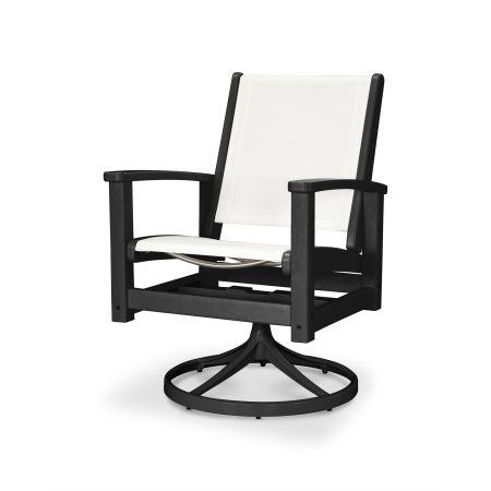 Coastal Swivel Rocking Chair in Textured Black / Black / White Sling