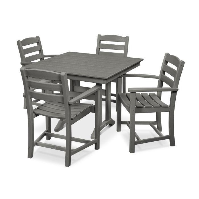 La Casa Café 5-Piece Farmhouse Trestle Arm Chair Dining Set