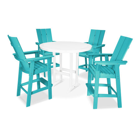 Modern Adirondack 5-Piece Nautical Trestle Bar Set in Aruba / White