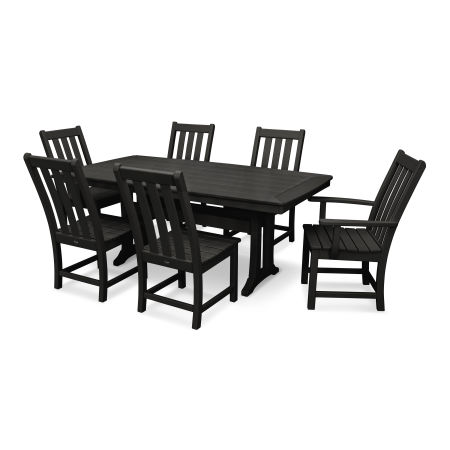 Vineyard 7-Piece Nautical Trestle Dining Set in Slate Grey