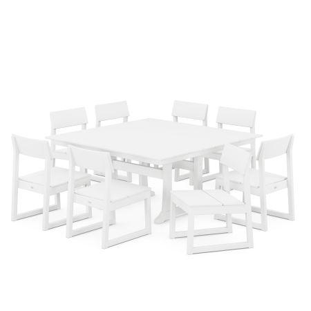 EDGE 9-Piece Farmhouse Trestle Dining Set in White