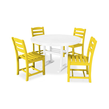 La Casa Café 5 Piece Side Chair Dining Set in Lemon