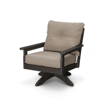 Vineyard Deep Seating Swivel Chair in Vintage Coffee / Cast Ash