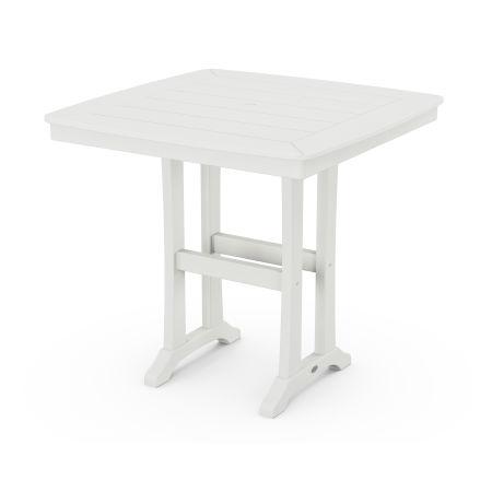 "Nautical Trestle 37"" Counter Table in Vintage White"
