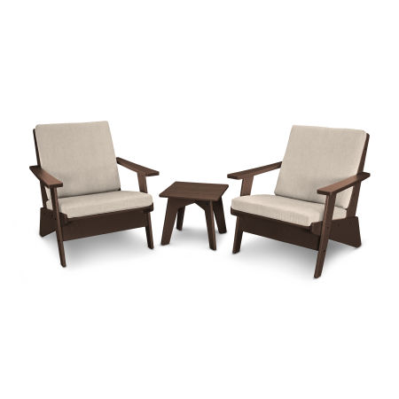 Riviera Modern Lounge 3-Piece Set in Mahogany / Cast Ash