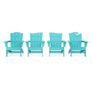 Wave Collection 4-Piece Adirondack Chair Set