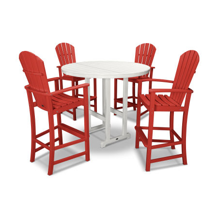 Palm Coast 5-Piece Bar Set in Sunset Red / White