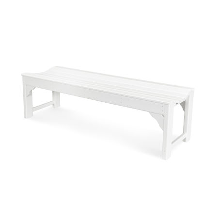 "Traditional Garden 60"" Backless Bench in White"