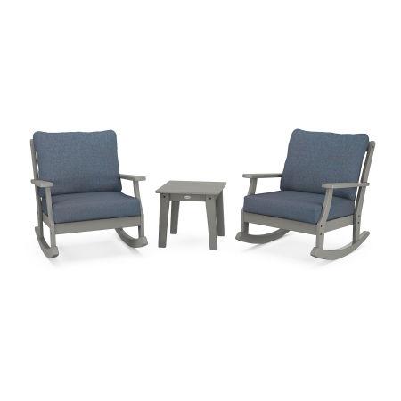 Braxton 3-Piece Deep Seating Rocker Set in Slate Grey / Sancy Denim