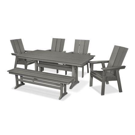 Modern Adirondack 6-Piece Farmhouse Trestle Dining Set with Bench