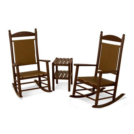 Jefferson 3-Piece Woven Rocking Chair Set in Mahogany Frame / Tigerwood