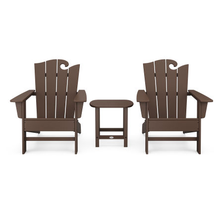Wave 3-Piece Adirondack Set with The Ocean Chair in Mahogany