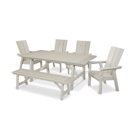 Modern Adirondack 6-Piece Rustic Farmhouse Dining Set with Bench in Sand