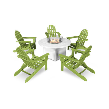 Classic Folding Adirondack 6-Piece Conversation Set with Fire Pit Table in Lime