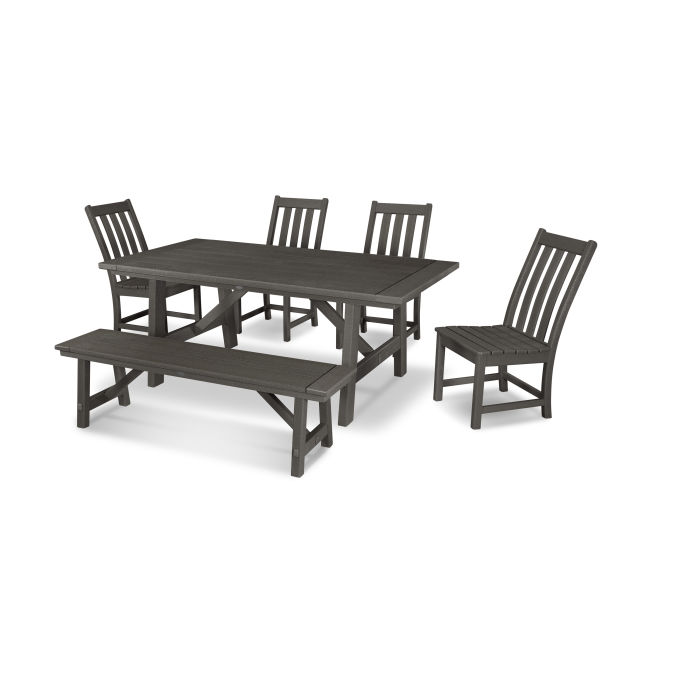 Vineyard 6-Piece Rustic Farmhouse Side Chair Dining Set with Bench in Vintage Finish