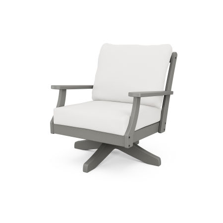 Braxton Deep Seating Swivel Chair in Slate Grey / Textured Linen