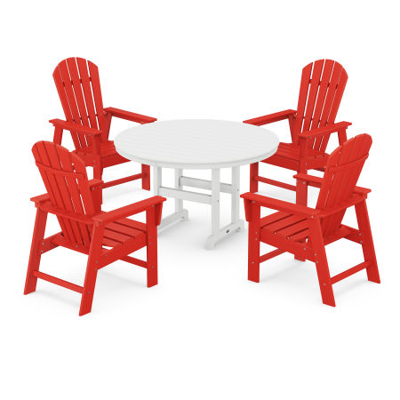South Beach 5-Piece Dining Set in Sunset Red / White
