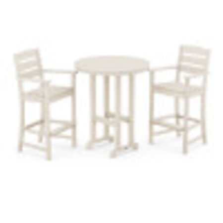 Lakeside 3-Piece Round Bar Arm Chair Set in Sand