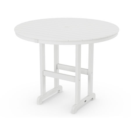 """Round 48"""" Counter Table in White"""