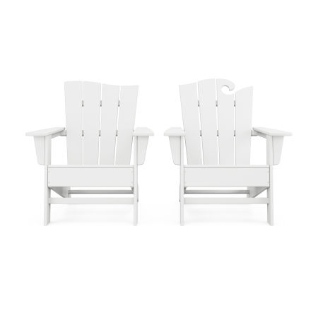 Wave 2-Piece Adirondack Set with The Wave Chair Left in White