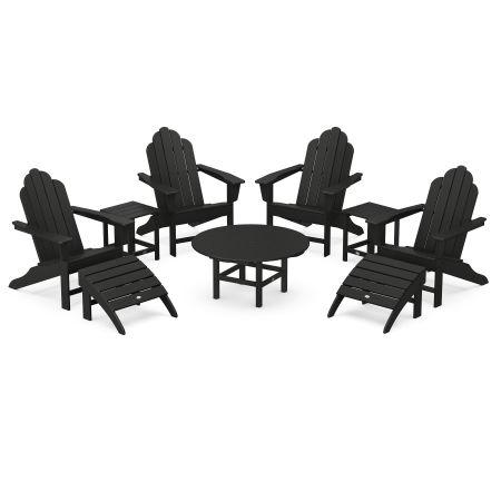Long Island Adirondack 9-Piece Conversation Group in Black