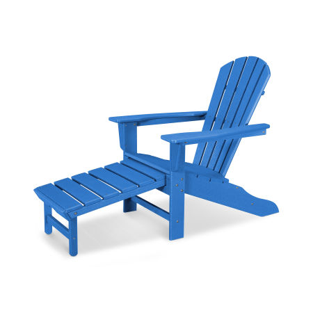 Palm Coast Ultimate Adirondack with Hideaway Ottoman in Vintage Pacific Blue