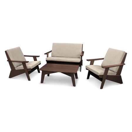 Riviera Modern Lounge 4-Piece Set in Mahogany / Cast Ash