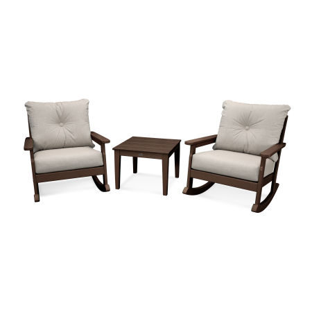 Vineyard 3-Piece Deep Seating Rocking Chair Set in Mahogany / Cast Ash