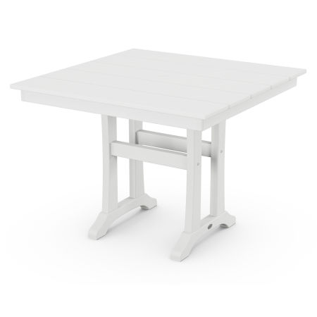 "Farmhouse Trestle 37"" Dining Table in White"