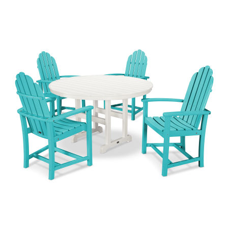 Classic Adirondack Dining 5-Piece Set in Aruba / White