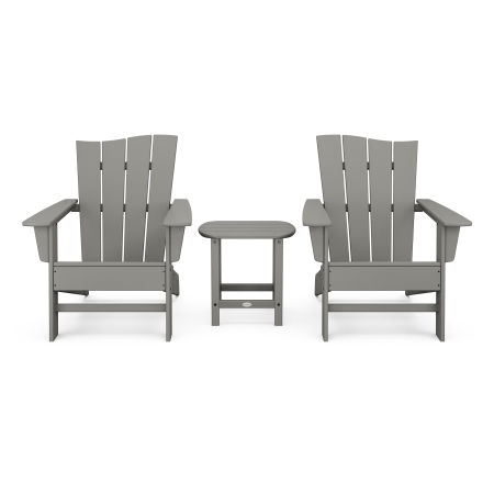 Wave 3-Piece Adirondack Chair Set in Slate Grey
