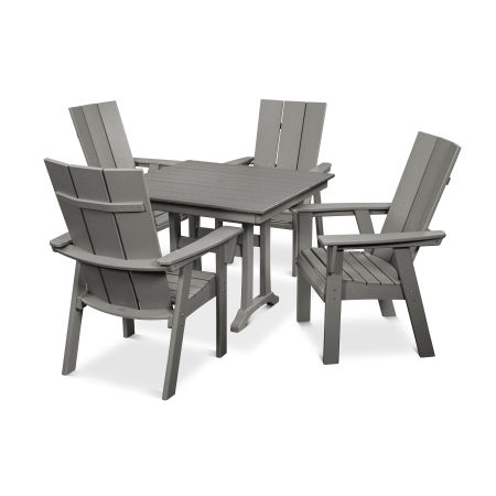 Modern Curveback Adirondack 5-Piece Farmhouse Trestle Dining Set