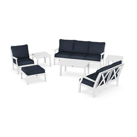Braxton 7-Piece Deep Seating Set in White / Marine Indigo
