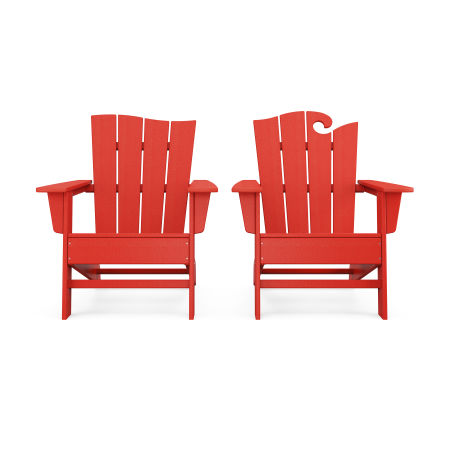 Wave 2-Piece Adirondack Set with The Wave Chair Left in Sunset Red