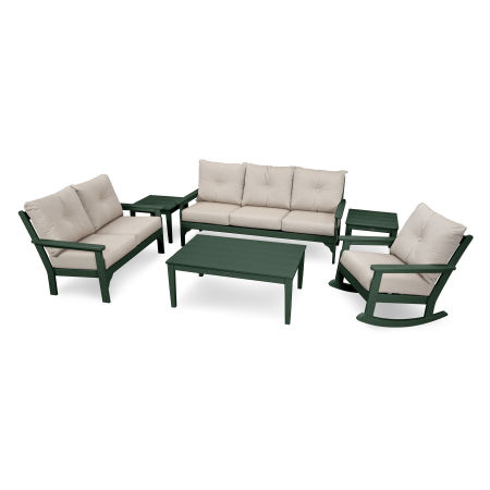Vineyard 6-Piece Deep Seating Set in Green / Cast Ash