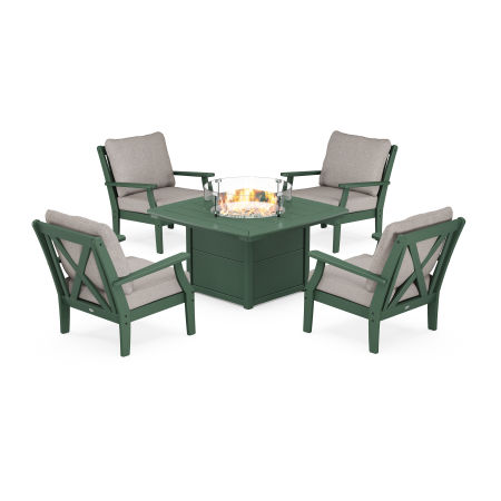 Braxton 5-Piece Deep Seating Conversation Set with Fire Pit Table in Green / Weathered Tweed