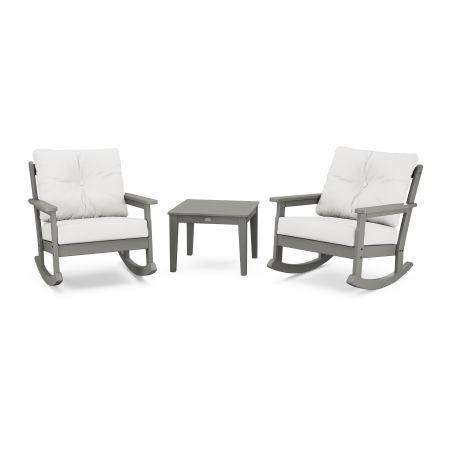 Vineyard 3-Piece Deep Seating Rocker Set in Slate Grey / Natural Linen