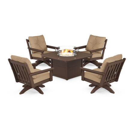 Vineyard 5-Piece Deep Seating Swivel Conversation Set with Fire Pit Table in Mahogany / Sesame