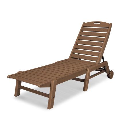 Nautical Chaise with Wheels in Teak