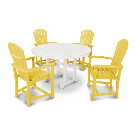 Palm Coast 5-Piece Dining Set in Lemon / White