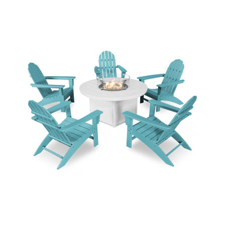 Vineyard Adirondack 6-Piece Chat Set with Fire Pit Table in Aruba