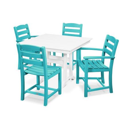 La Casa Café 5-Piece Farmhouse Trestle Dining Set in Aruba / White