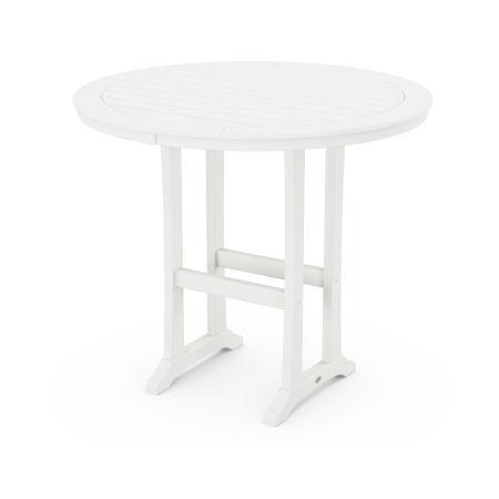 """Nautical Trestle 48"""" Round Bar Table in Vintage White"""