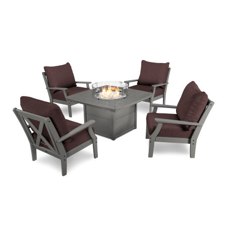 5-Piece Deep Seating Conversation Set with Fire Pit Table in Slate Grey / Cast Currant